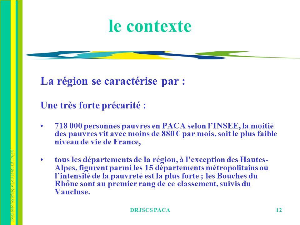 Réalisation graphique Louise MELKONIAN DRJSCS PACA12 le contexte La région se caractérise par : Une très forte précarité : 718 000 personnes pauvres en PACA selon lINSEE, la moitié des pauvres vit avec moins de 880 par mois, soit le plus faible niveau de vie de France, tous les départements de la région, à lexception des Hautes- Alpes, figurent parmi les 15 départements métropolitains où lintensité de la pauvreté est la plus forte ; les Bouches du Rhône sont au premier rang de ce classement, suivis du Vaucluse.
