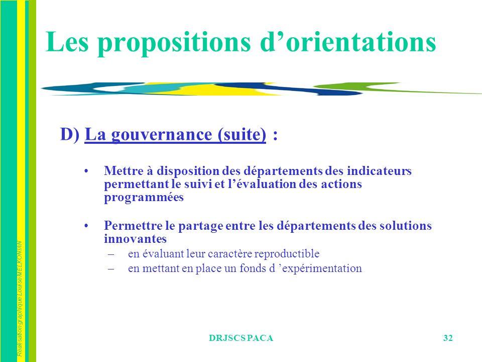 Réalisation graphique Louise MELKONIAN DRJSCS PACA32 D) La gouvernance (suite) : Mettre à disposition des départements des indicateurs permettant le s