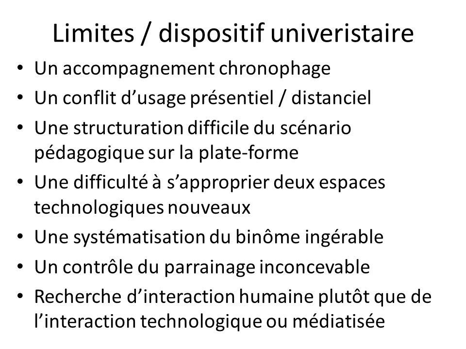 Limites / dispositif univeristaire Un accompagnement chronophage Un conflit dusage présentiel / distanciel Une structuration difficile du scénario péd
