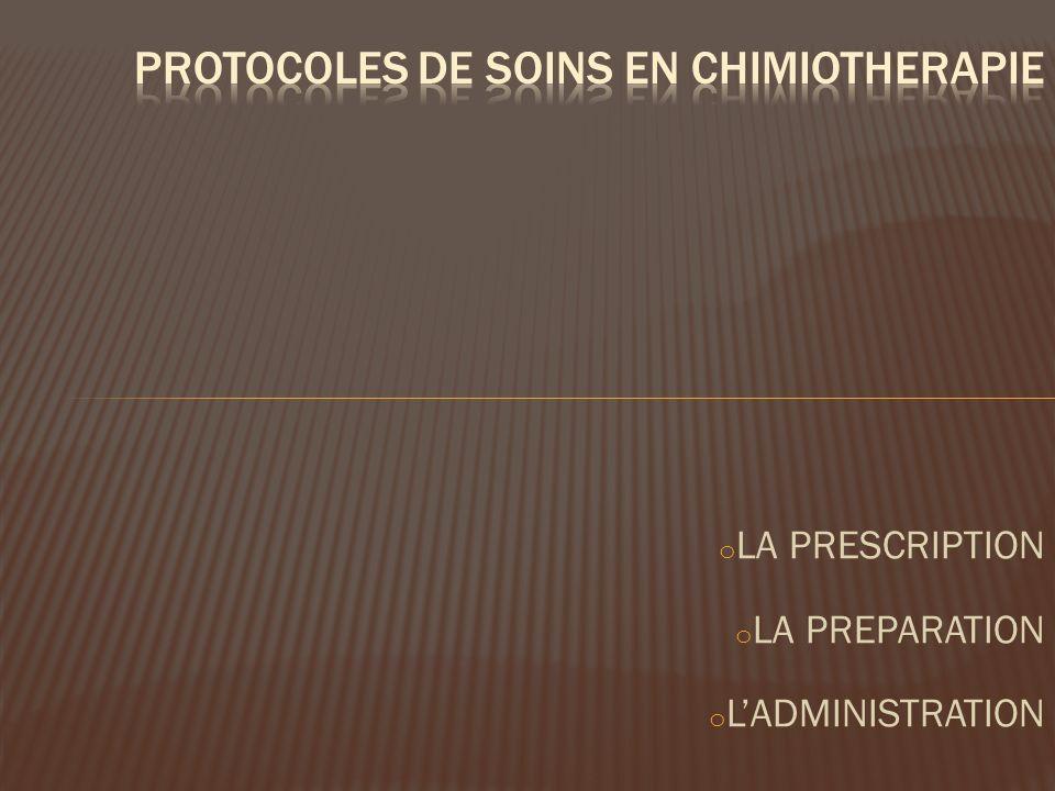 o LA PRESCRIPTION o LA PREPARATION o LADMINISTRATION