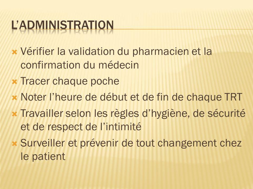 Vérifier la validation du pharmacien et la confirmation du médecin Tracer chaque poche Noter lheure de début et de fin de chaque TRT Travailler selon