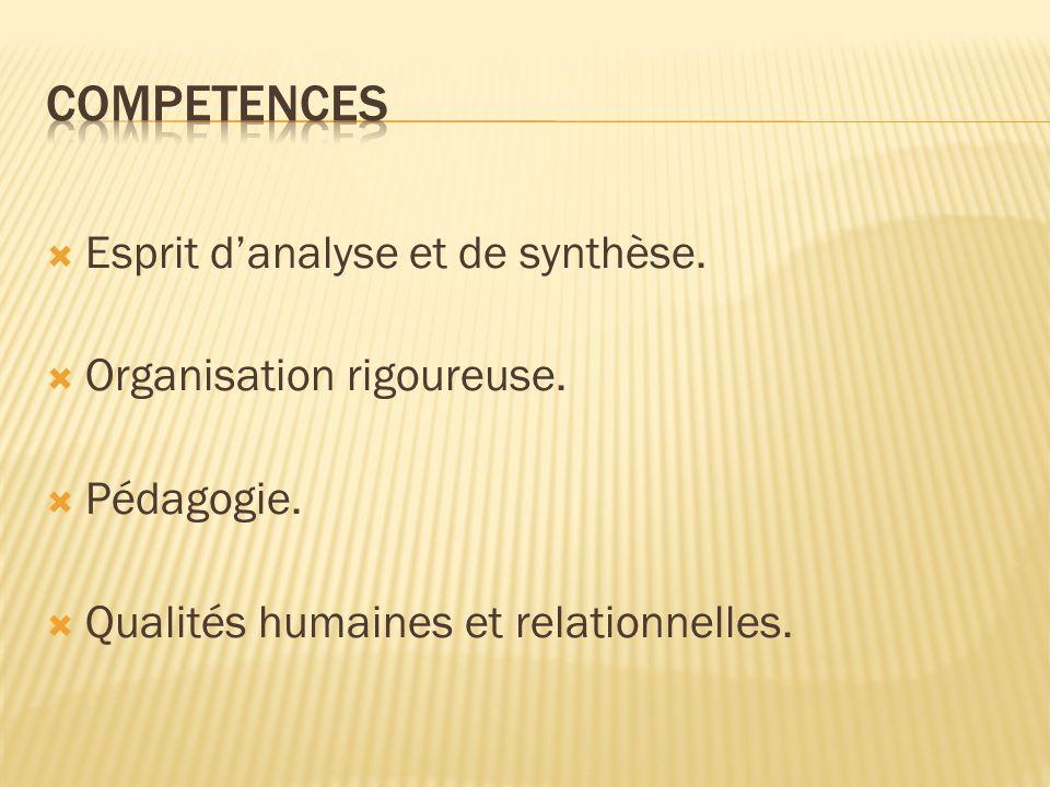 Esprit danalyse et de synthèse. Organisation rigoureuse. Pédagogie. Qualités humaines et relationnelles.