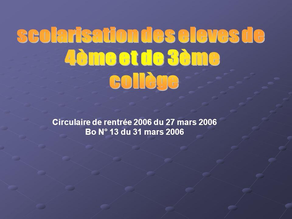 Circulaire de rentrée 2006 du 27 mars 2006 Bo N° 13 du 31 mars 2006