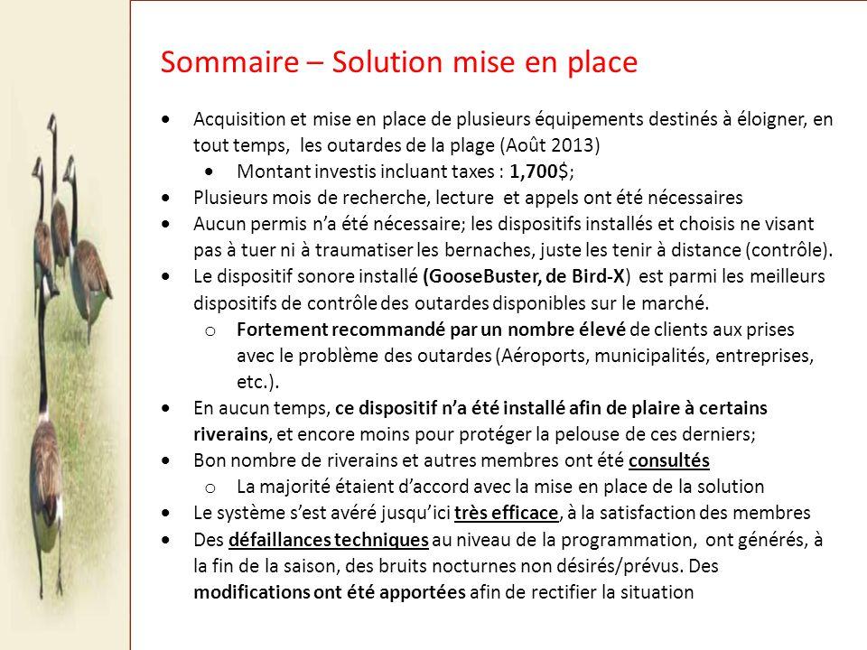 SOLUTION ACQUISE ET MISE EN PLACE (2013) APPROCHE MIXTE