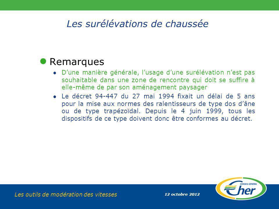 12 octobre 2012 Les outils de modération des vitesses Les surélévations de chaussée Remarques Dune manière générale, lusage dune surélévation nest pas