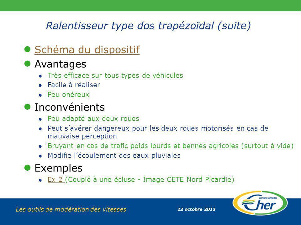 12 octobre 2012 Les outils de modération des vitesses Ralentisseur type dos trapézoïdal (suite) Schéma du dispositif Avantages Très efficace sur tous