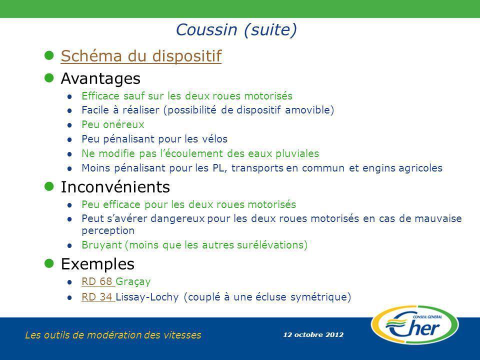 12 octobre 2012 Les outils de modération des vitesses Coussin (suite) Schéma du dispositif Avantages Efficace sauf sur les deux roues motorisés Facile