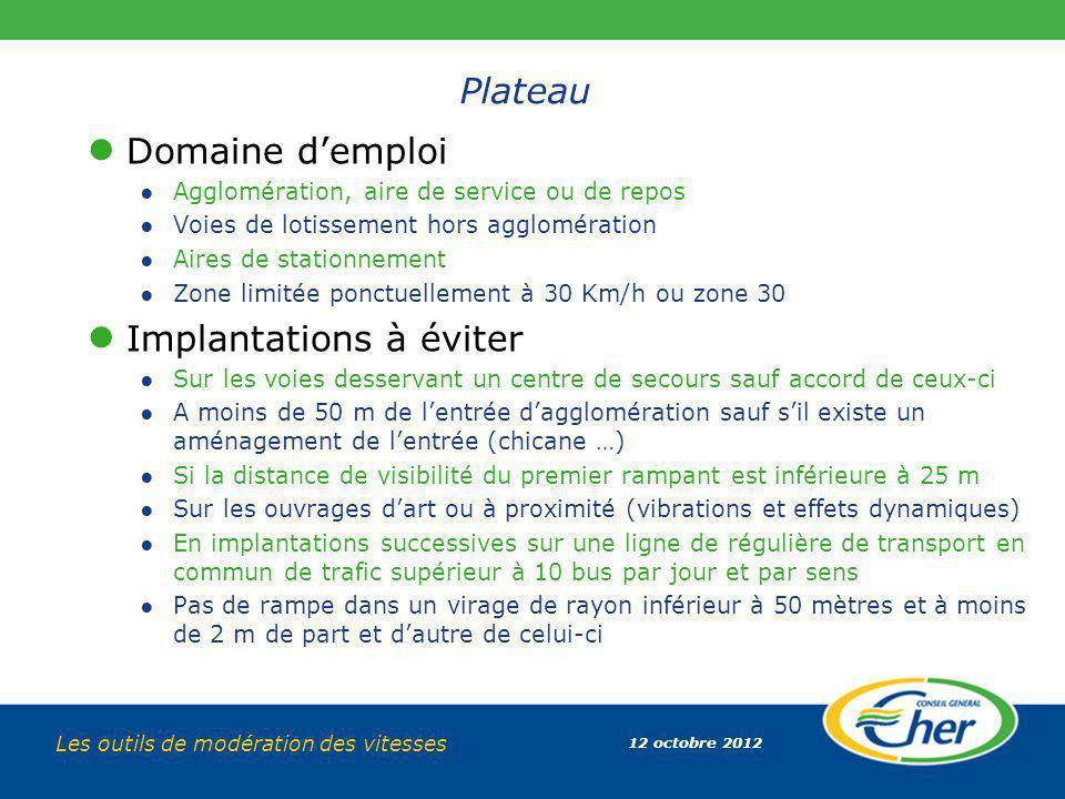 12 octobre 2012 Les outils de modération des vitesses Plateau Domaine demploi Agglomération, aire de service ou de repos Voies de lotissement hors agg