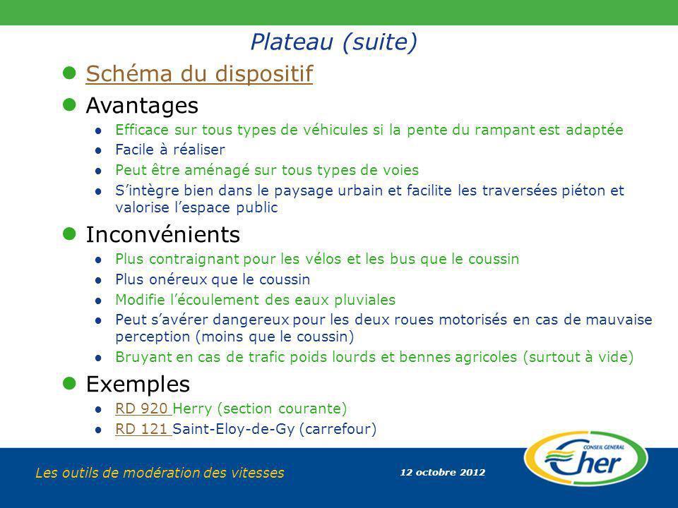 12 octobre 2012 Les outils de modération des vitesses Plateau (suite) Schéma du dispositif Avantages Efficace sur tous types de véhicules si la pente