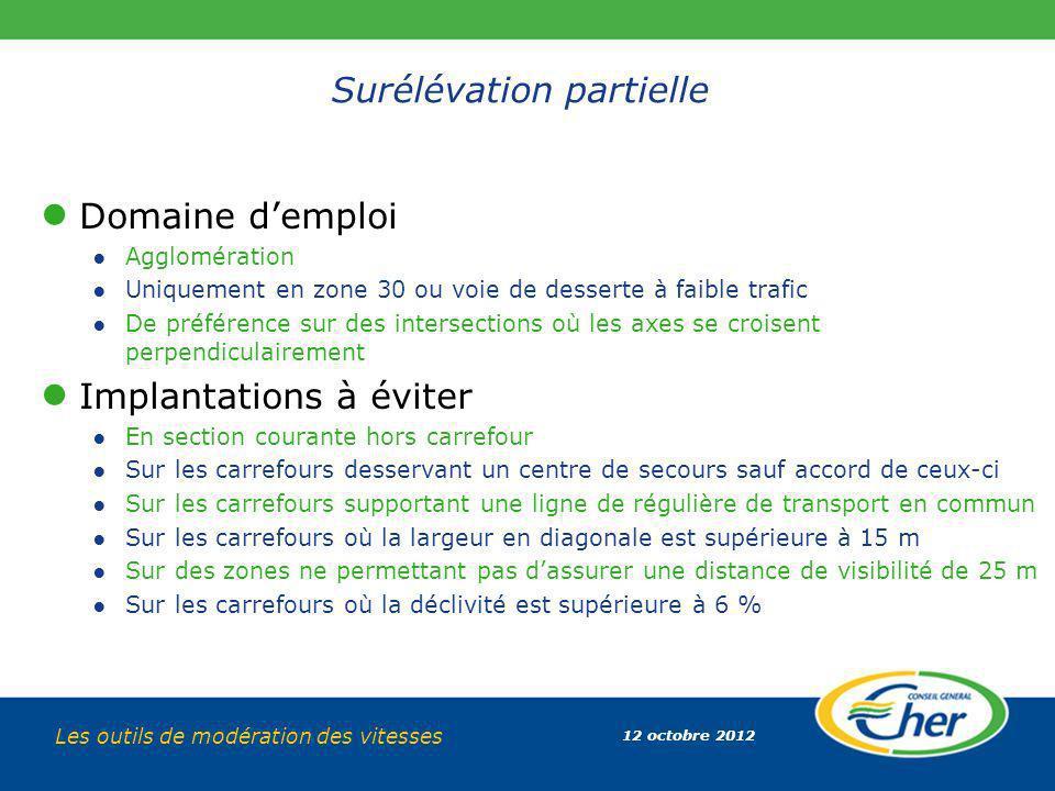 12 octobre 2012 Les outils de modération des vitesses Surélévation partielle Domaine demploi Agglomération Uniquement en zone 30 ou voie de desserte à