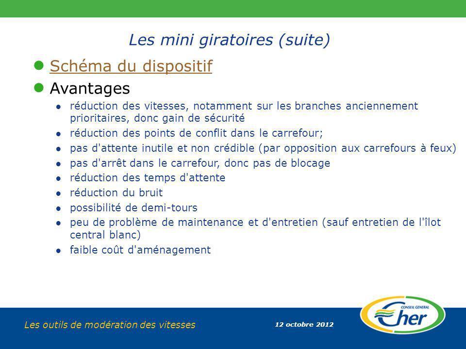 12 octobre 2012 Les outils de modération des vitesses Les mini giratoires (suite) Schéma du dispositif Avantages réduction des vitesses, notamment sur