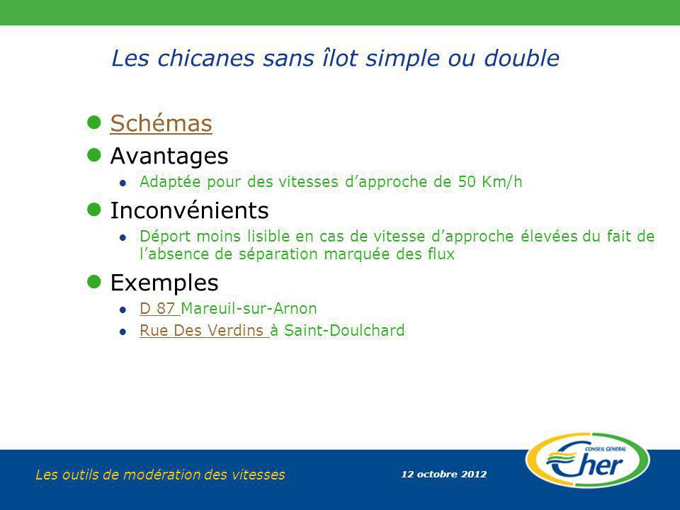 12 octobre 2012 Les outils de modération des vitesses Les chicanes sans îlot simple ou double Schémas Avantages Adaptée pour des vitesses dapproche de