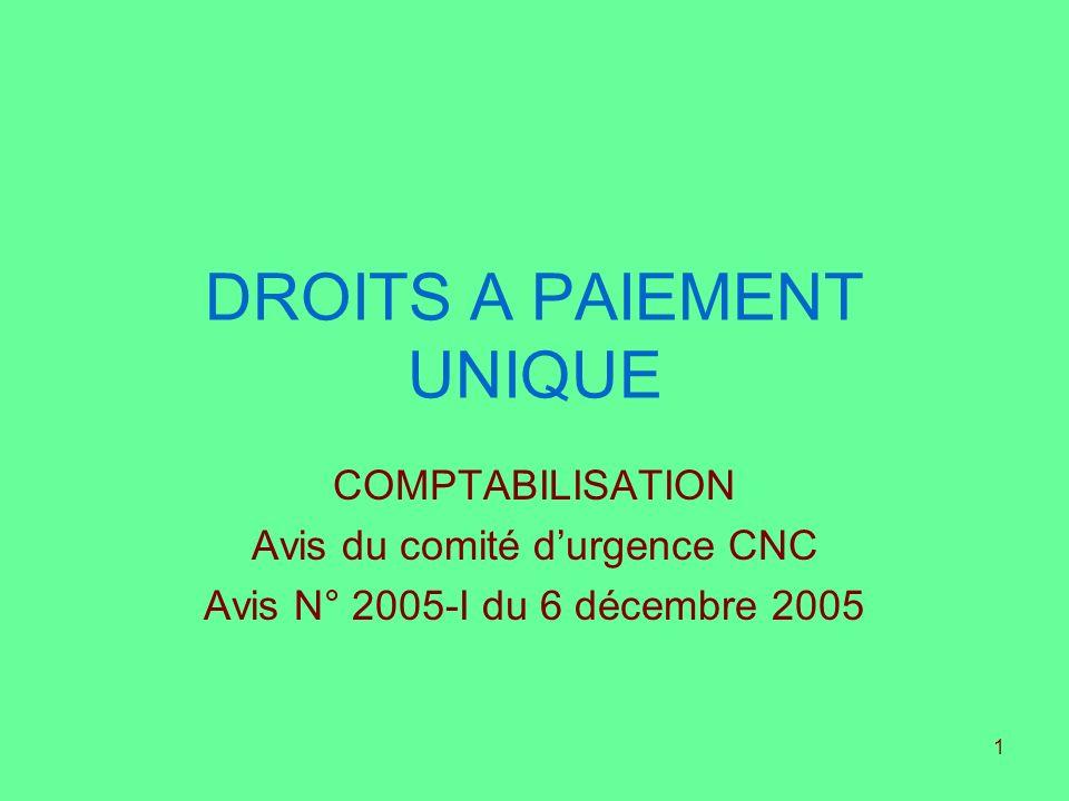 1 DROITS A PAIEMENT UNIQUE COMPTABILISATION Avis du comité durgence CNC Avis N° 2005-I du 6 décembre 2005