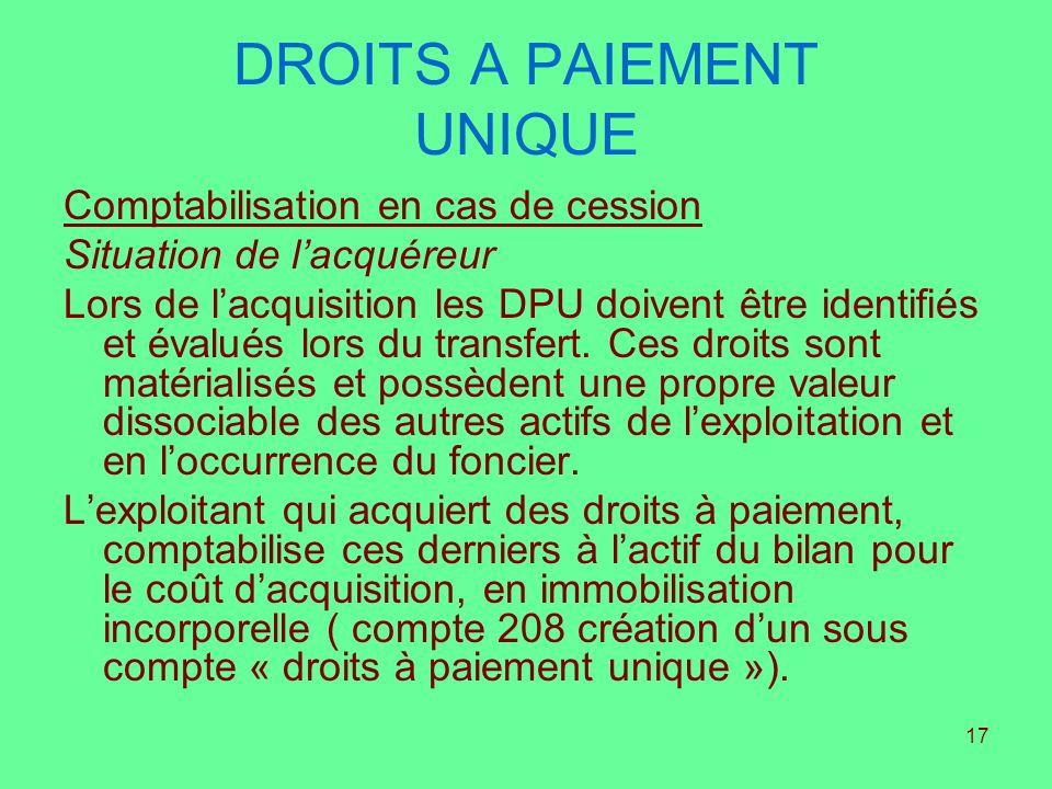 17 DROITS A PAIEMENT UNIQUE Comptabilisation en cas de cession Situation de lacquéreur Lors de lacquisition les DPU doivent être identifiés et évalués