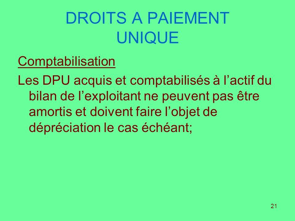 21 DROITS A PAIEMENT UNIQUE Comptabilisation Les DPU acquis et comptabilisés à lactif du bilan de lexploitant ne peuvent pas être amortis et doivent f