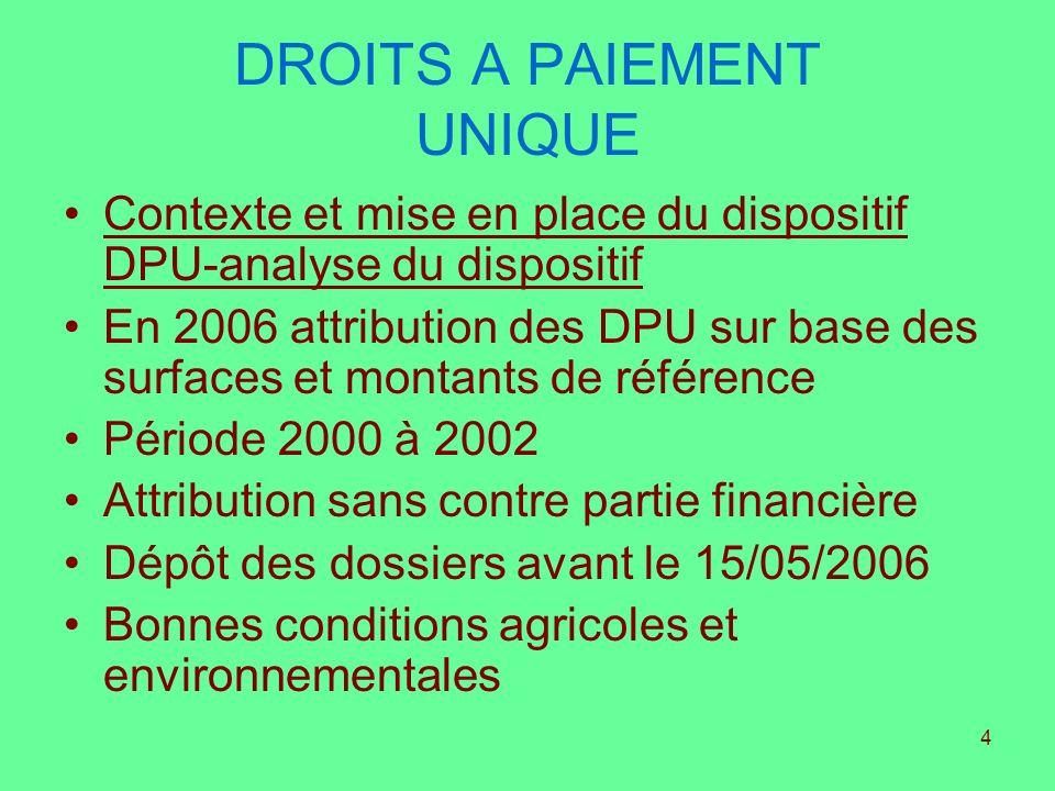 4 DROITS A PAIEMENT UNIQUE Contexte et mise en place du dispositif DPU-analyse du dispositif En 2006 attribution des DPU sur base des surfaces et mont