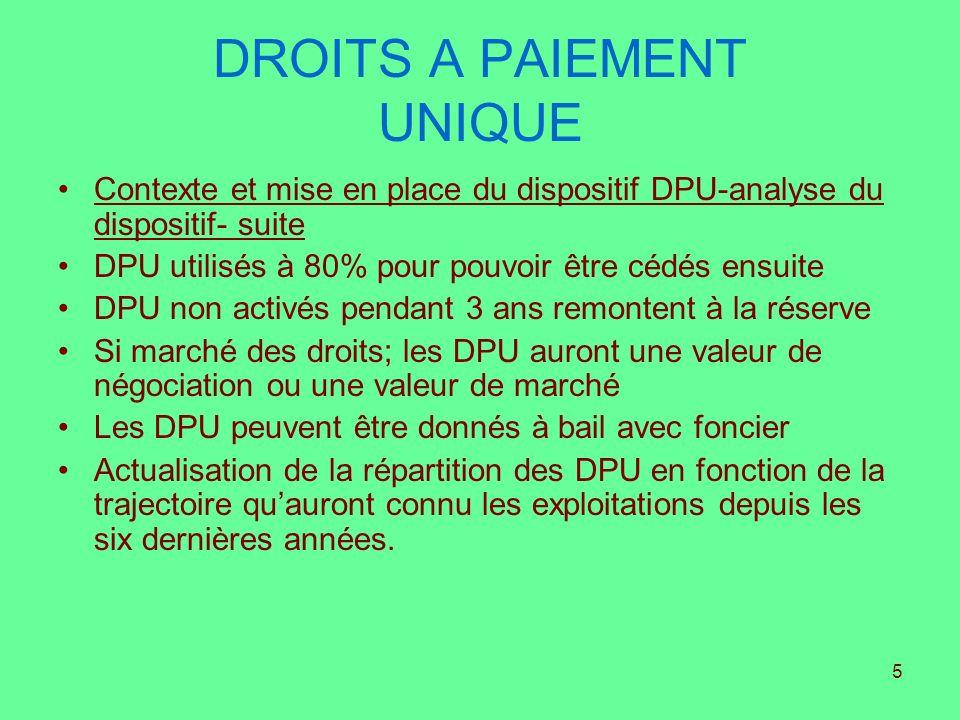 5 DROITS A PAIEMENT UNIQUE Contexte et mise en place du dispositif DPU-analyse du dispositif- suite DPU utilisés à 80% pour pouvoir être cédés ensuite
