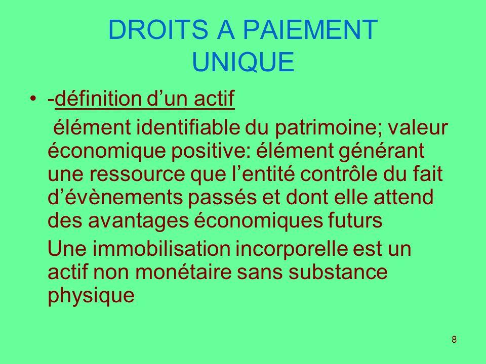 8 DROITS A PAIEMENT UNIQUE -définition dun actif élément identifiable du patrimoine; valeur économique positive: élément générant une ressource que le