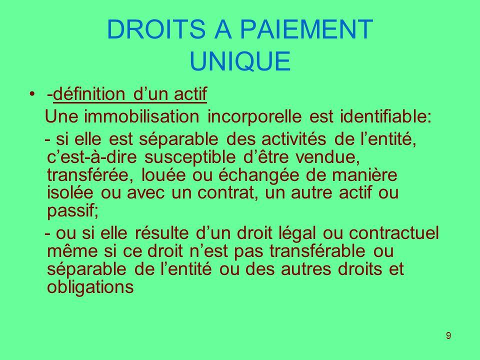 9 DROITS A PAIEMENT UNIQUE -définition dun actif Une immobilisation incorporelle est identifiable: - si elle est séparable des activités de lentité, c