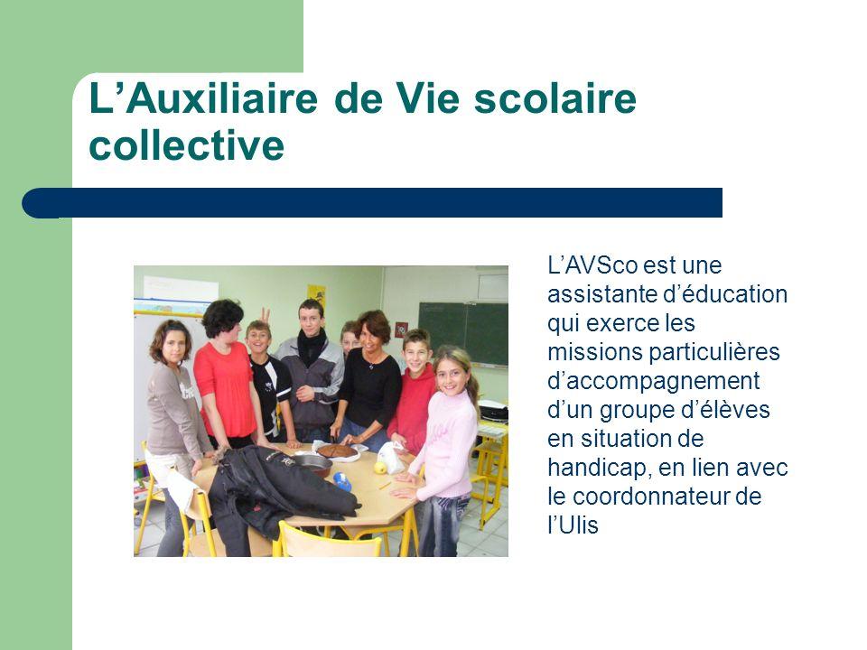 LAuxiliaire de Vie scolaire collective LAVSco est une assistante déducation qui exerce les missions particulières daccompagnement dun groupe délèves en situation de handicap, en lien avec le coordonnateur de lUlis