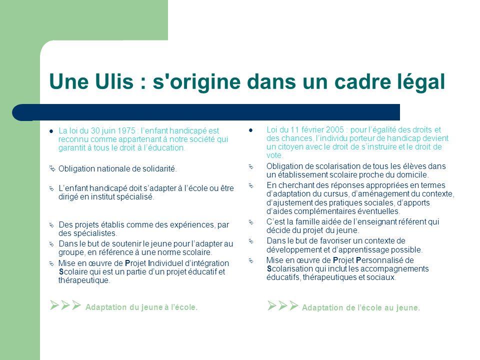 Une Ulis : s origine dans un cadre légal La loi du 30 juin 1975 : lenfant handicapé est reconnu comme appartenant à notre société qui garantit à tous le droit à léducation.
