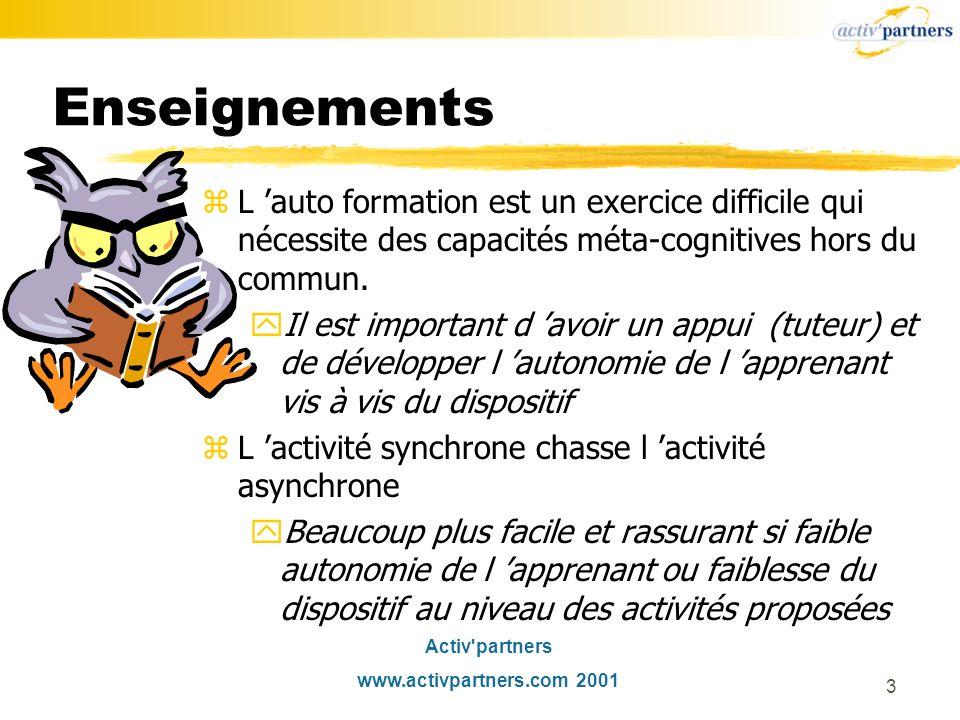 Activ partners www.activpartners.com 2001 3 Enseignements zL auto formation est un exercice difficile qui nécessite des capacités méta-cognitives hors du commun.