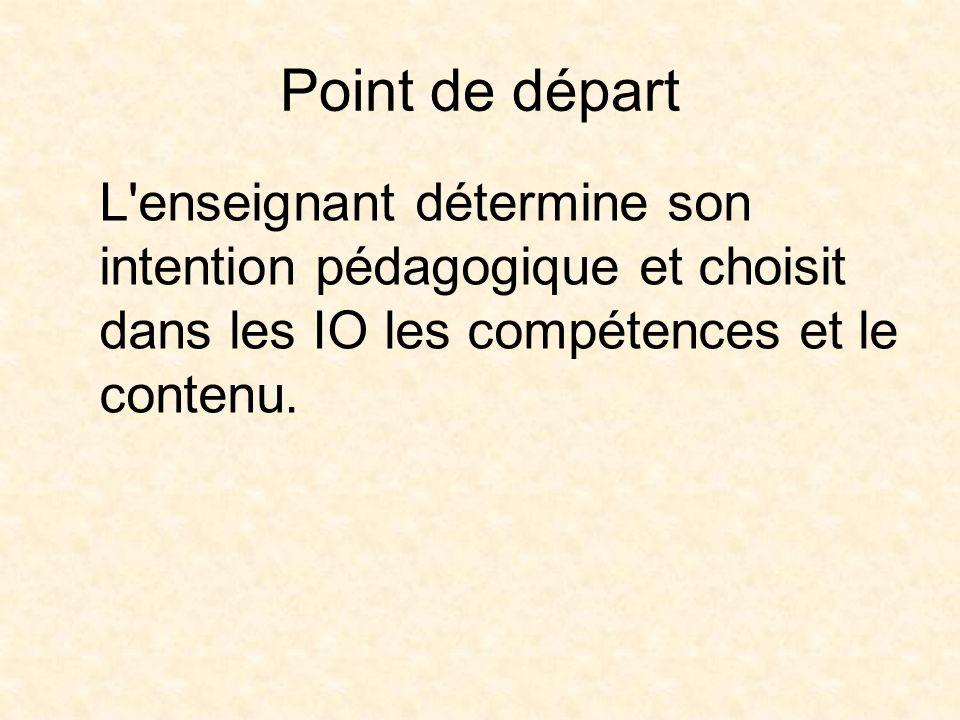 Point de départ L enseignant détermine son intention pédagogique et choisit dans les IO les compétences et le contenu.