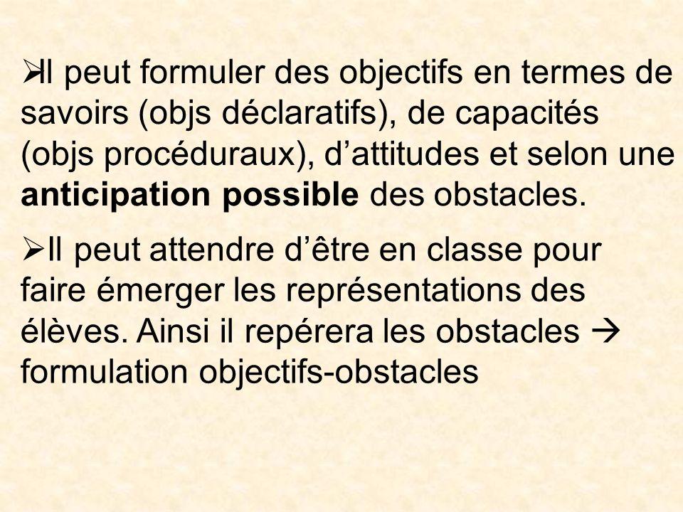 Il peut formuler des objectifs en termes de savoirs (objs déclaratifs), de capacités (objs procéduraux), dattitudes et selon une anticipation possible des obstacles.
