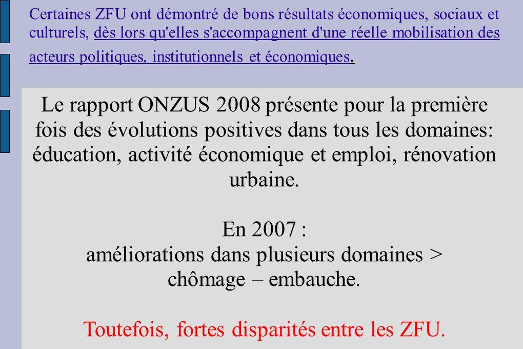 Certaines ZFU ont démontré de bons résultats économiques, sociaux et culturels, dès lors qu elles s accompagnent d une réelle mobilisation des acteurs politiques, institutionnels et économiques.
