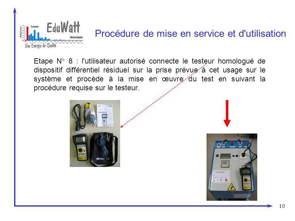 10 Procédure de mise en service et d'utilisation Etape N° 8 : l'utilisateur autorisé connecte le testeur homologué de dispositif différentiel résiduel