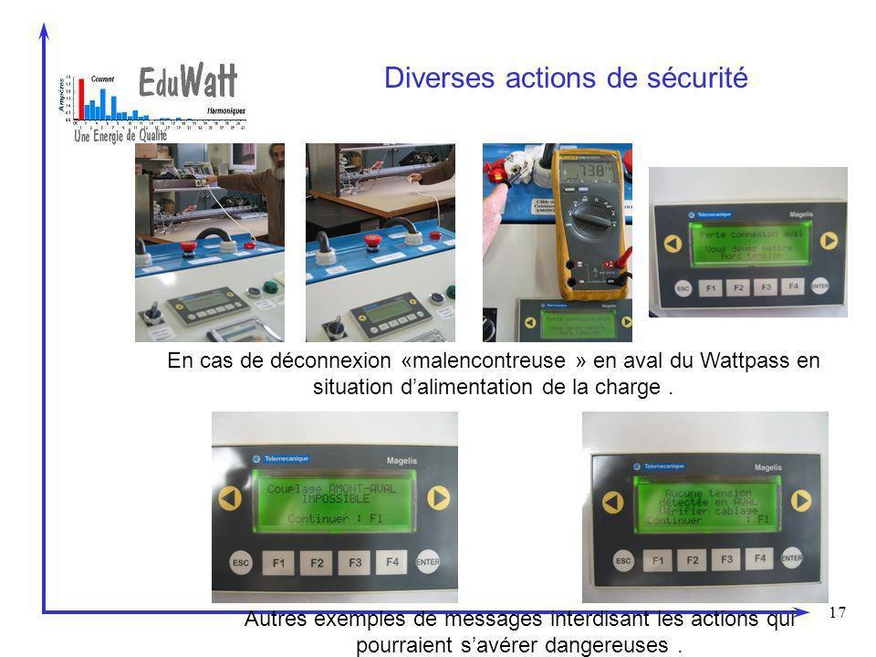 17 Diverses actions de sécurité En cas de déconnexion «malencontreuse » en aval du Wattpass en situation dalimentation de la charge. Autres exemples d
