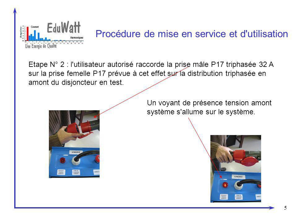 5 Procédure de mise en service et d utilisation Etape N° 2 : l utilisateur autorisé raccorde la prise mâle P17 triphasée 32 A sur la prise femelle P17 prévue à cet effet sur la distribution triphasée en amont du disjoncteur en test.