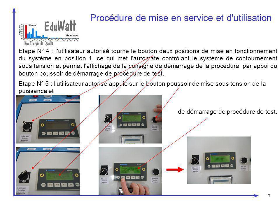 7 Procédure de mise en service et d utilisation Etape N° 5 : l utilisateur autorisé appuie sur le bouton poussoir de mise sous tension de la puissance et de démarrage de procédure de test.