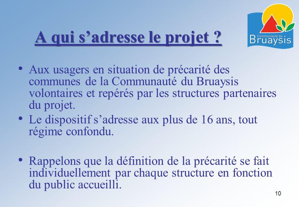 A qui sadresse le projet ? Aux usagers en situation de précarité des communes de la Communauté du Bruaysis volontaires et repérés par les structures p