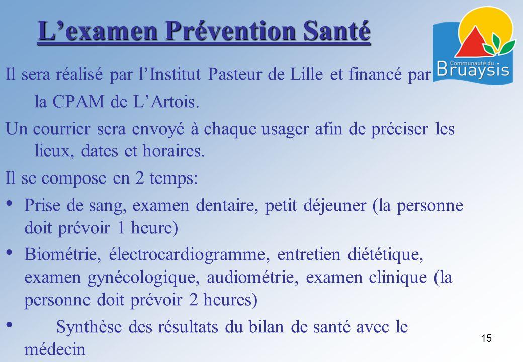 Lexamen Prévention Santé Il sera réalisé par lInstitut Pasteur de Lille et financé par la CPAM de LArtois. Un courrier sera envoyé à chaque usager afi