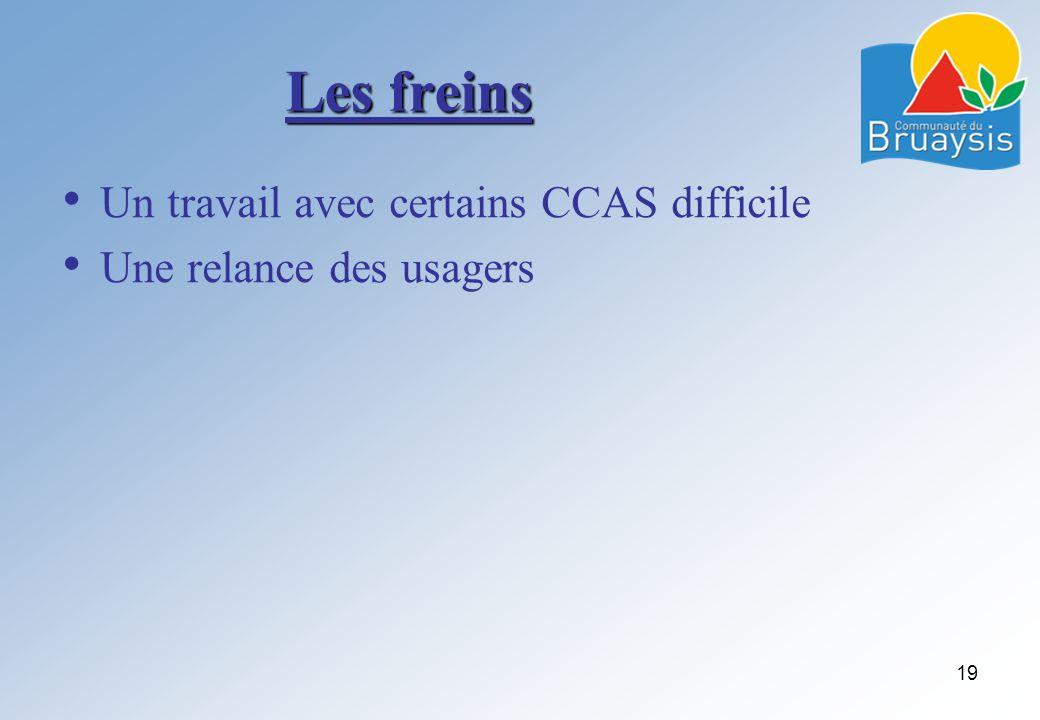 Les freins Un travail avec certains CCAS difficile Une relance des usagers 19