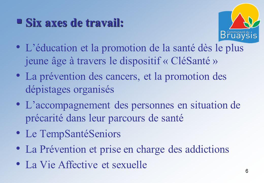 Six axes de travail: Six axes de travail: Léducation et la promotion de la santé dès le plus jeune âge à travers le dispositif « CléSanté » La prévent