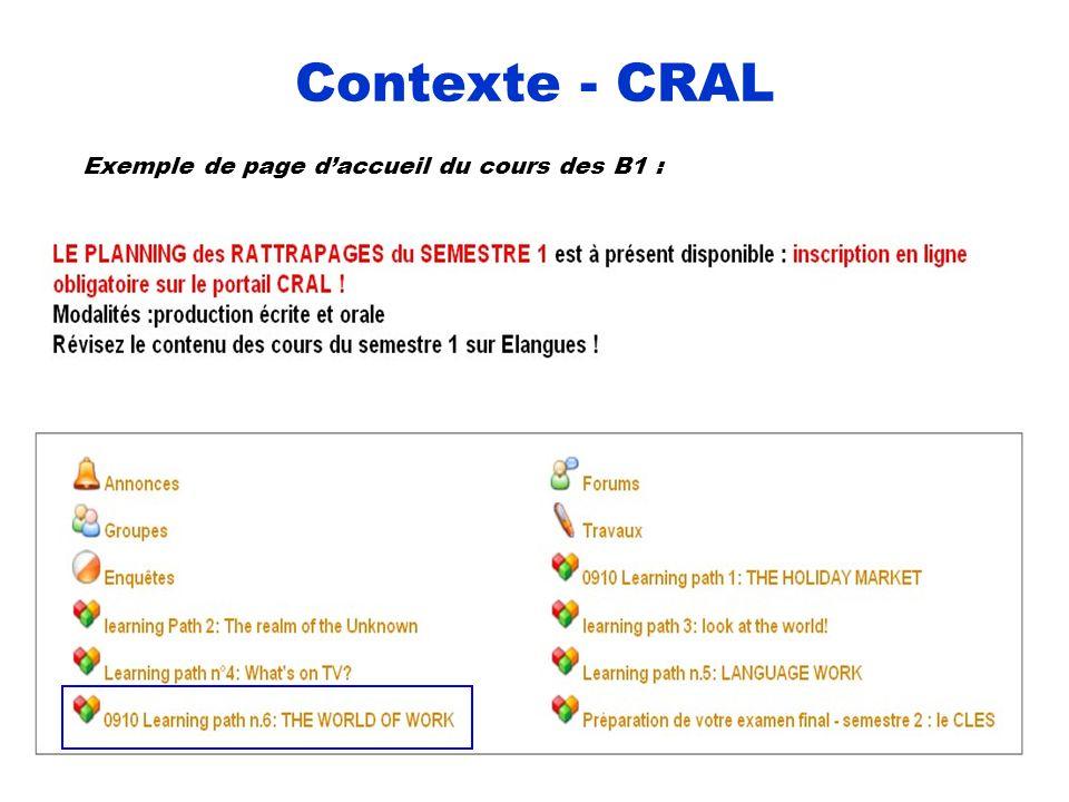 Contexte - CRAL Exemple de page daccueil du cours des B1 :