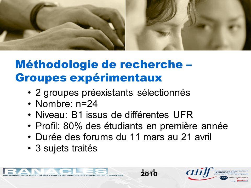 2010 Eurocall Méthodologie de recherche – Groupes expérimentaux 2 groupes préexistants sélectionnés Nombre: n=24 Niveau: B1 issus de différentes UFR P