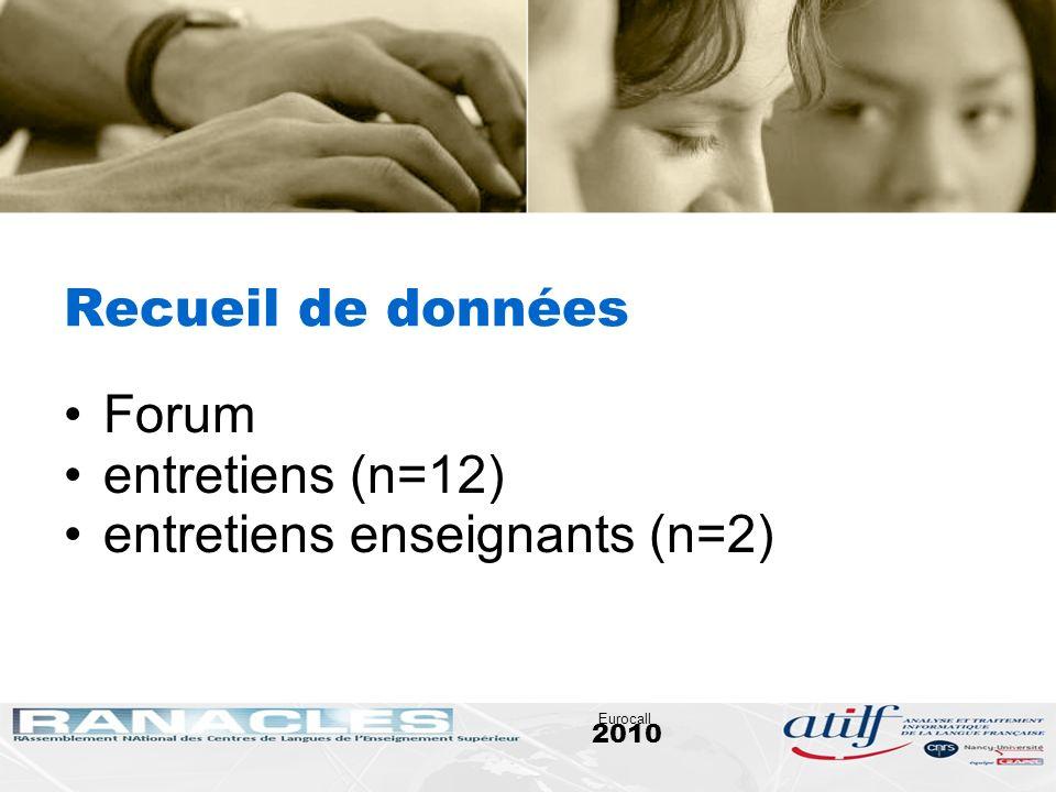2010 Eurocall Recueil de données Forum entretiens (n=12) entretiens enseignants (n=2)