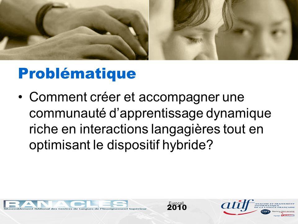 2010 Eurocall Problématique Comment créer et accompagner une communauté dapprentissage dynamique riche en interactions langagières tout en optimisant