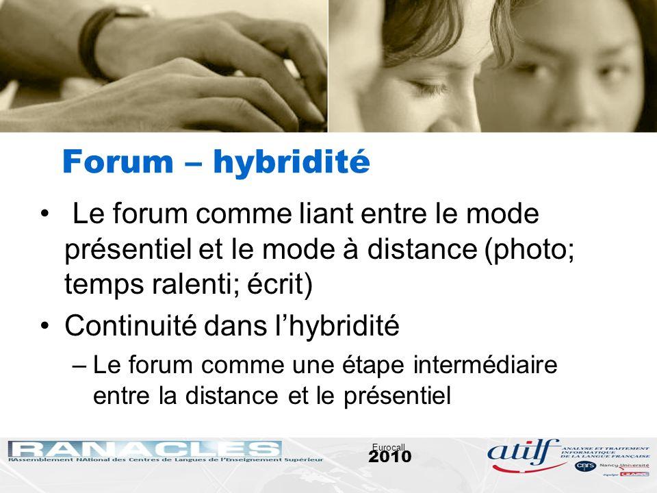 2010 Eurocall Forum – hybridité Le forum comme liant entre le mode présentiel et le mode à distance (photo; temps ralenti; écrit) Continuité dans lhyb