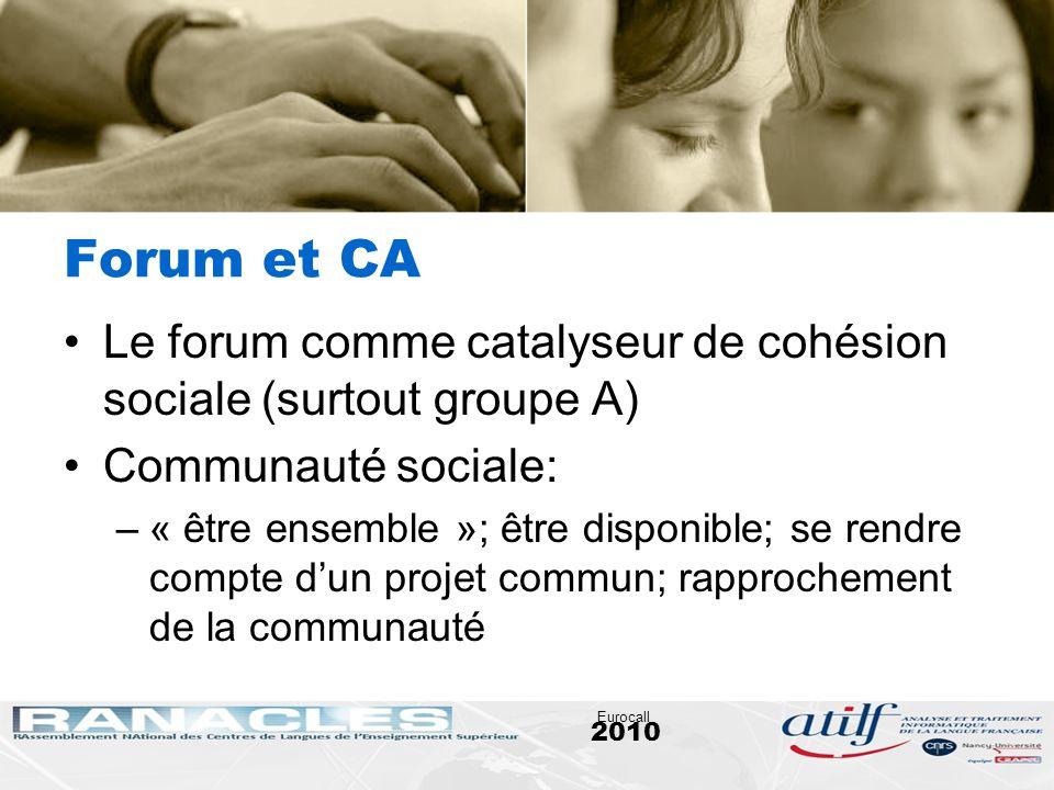 2010 Eurocall Forum et CA Le forum comme catalyseur de cohésion sociale (surtout groupe A) Communauté sociale: –« être ensemble »; être disponible; se