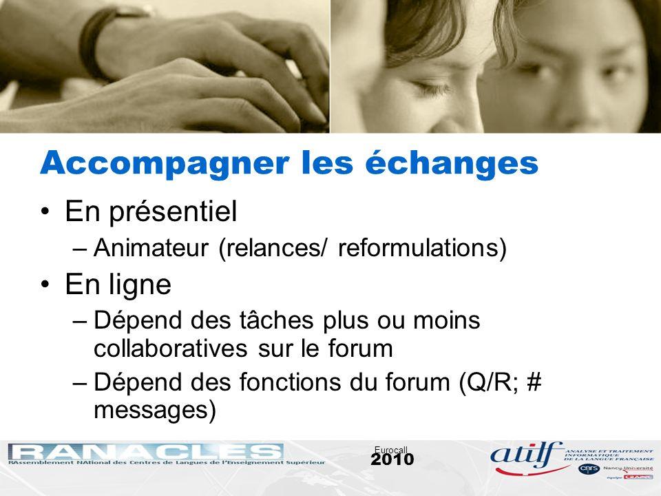 2010 Eurocall Accompagner les échanges En présentiel –Animateur (relances/ reformulations) En ligne –Dépend des tâches plus ou moins collaboratives su