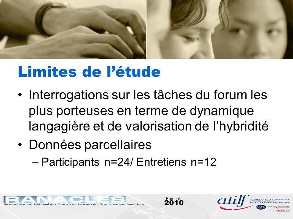 2010 Eurocall Limites de létude Interrogations sur les tâches du forum les plus porteuses en terme de dynamique langagière et de valorisation de lhybr