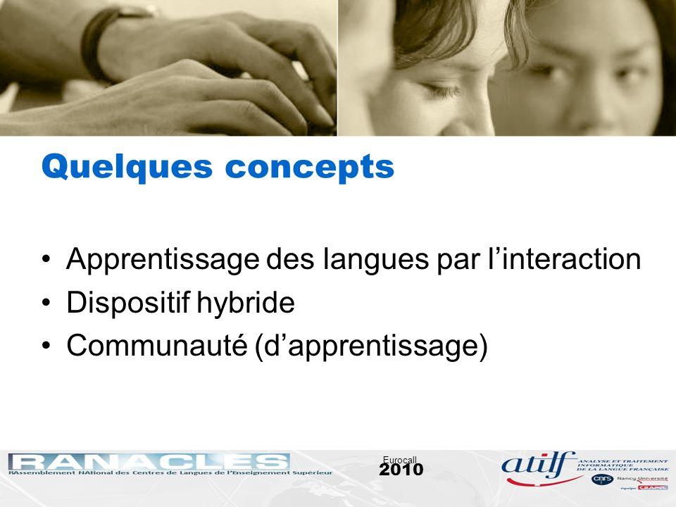2010 Eurocall Quelques concepts Apprentissage des langues par linteraction Dispositif hybride Communauté (dapprentissage)