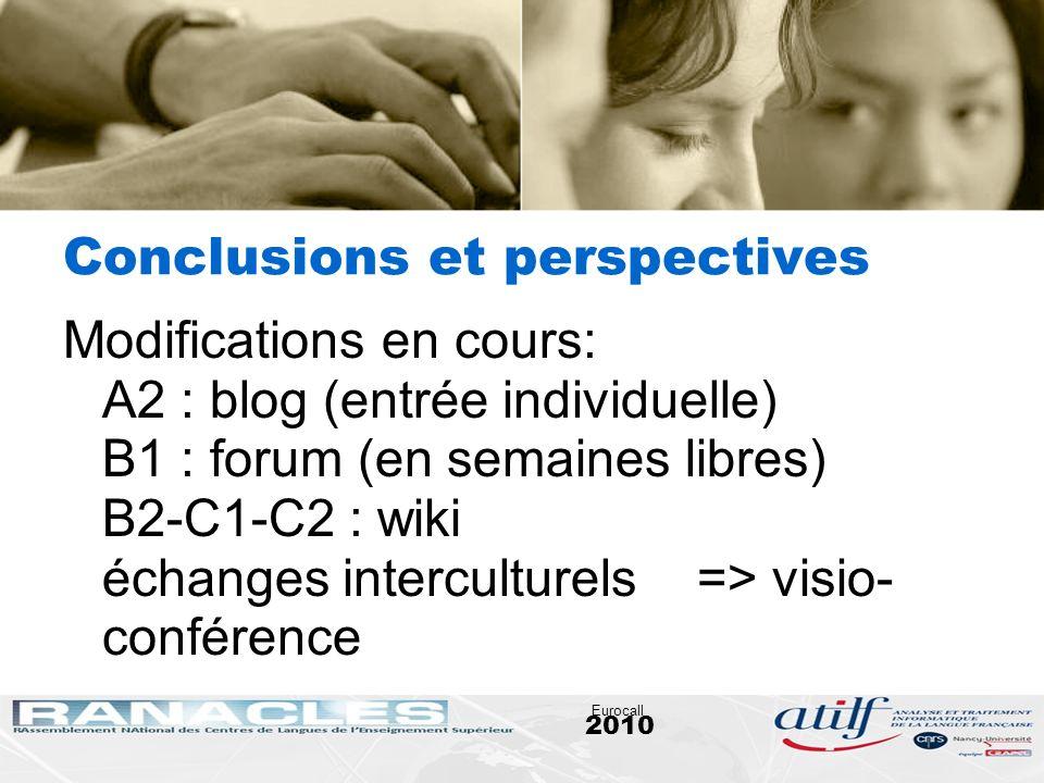2010 Eurocall Conclusions et perspectives Modifications en cours: A2 : blog (entrée individuelle) B1 : forum (en semaines libres) B2-C1-C2 : wiki écha