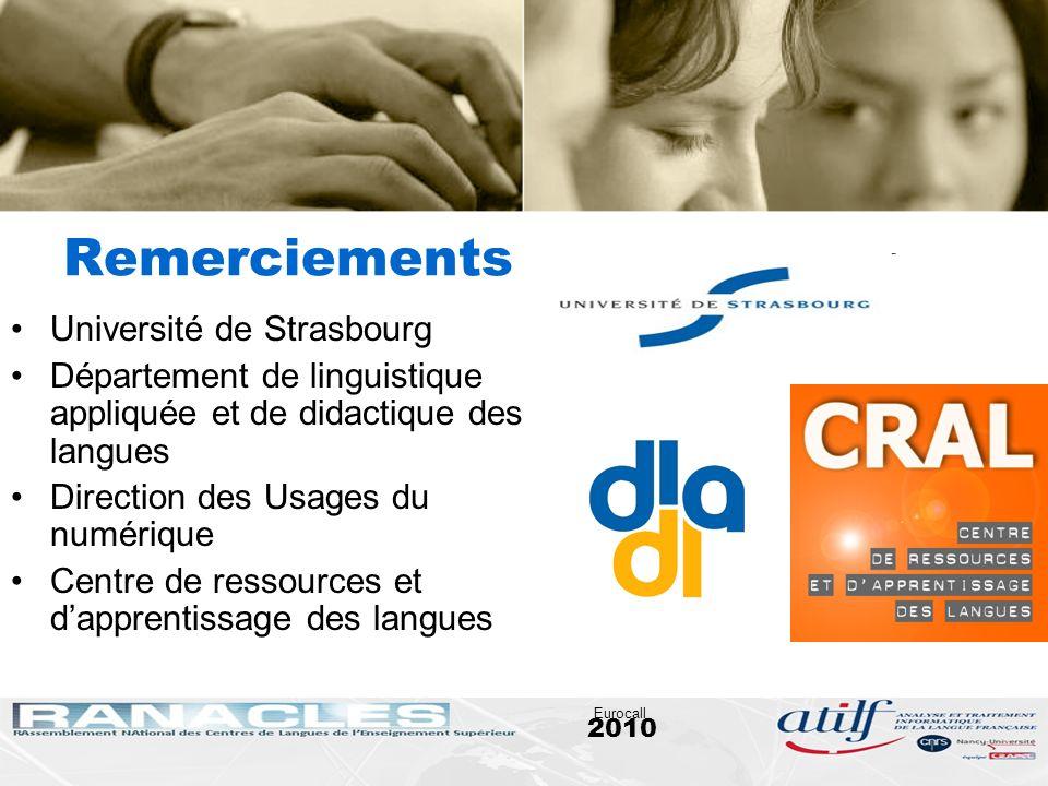 2010 Eurocall Remerciements Université de Strasbourg Département de linguistique appliquée et de didactique des langues Direction des Usages du numéri