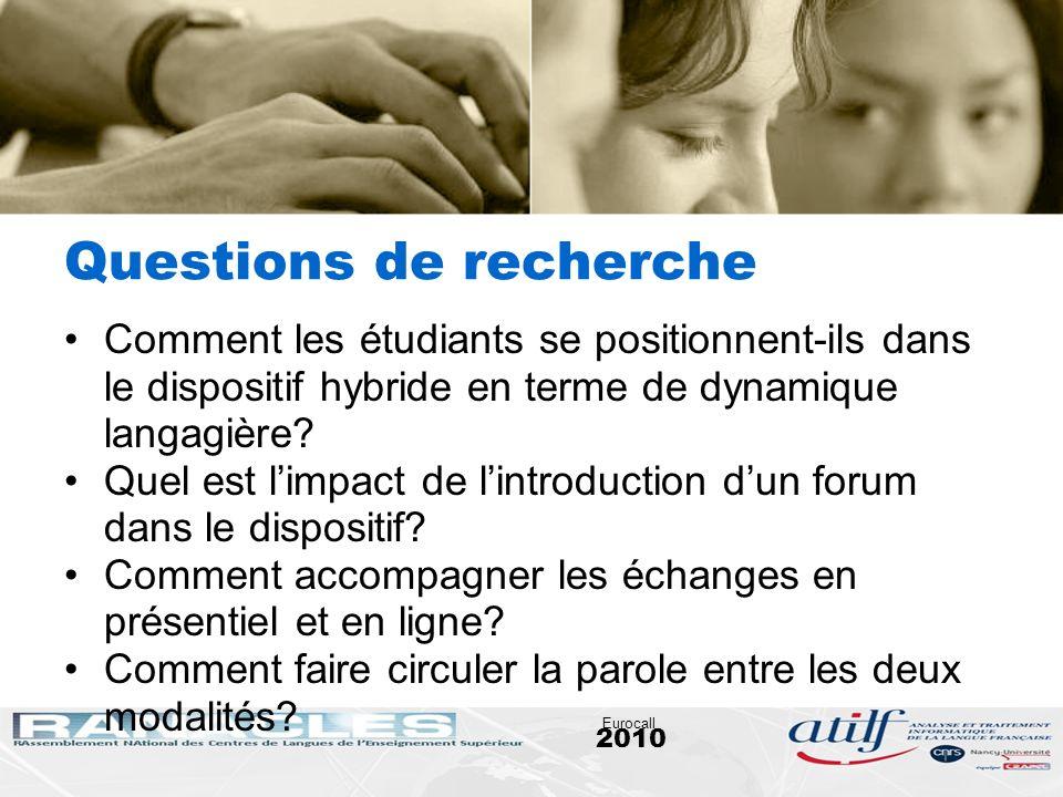 2010 Eurocall Questions de recherche Comment les étudiants se positionnent-ils dans le dispositif hybride en terme de dynamique langagière? Quel est l