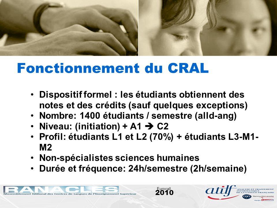 2010 Eurocall Fonctionnement du CRAL Dispositif formel : les étudiants obtiennent des notes et des crédits (sauf quelques exceptions) Nombre: 1400 étu